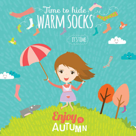 kids background: Vector illustration background with funny and happy smiling kids in a cute and cartoon style. Goodbye summer. Hello autumn. Outdoor, travel, playground, garden, sky, grass, tree