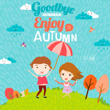 addio: Vector sfondo illustrazione con i bambini divertenti e felici sorridenti in uno stile carino e cartone animato. Addio estate. Ciao autunno. Outdoor, viaggiare, parco giochi, giardino, cielo, erba, albero Vettoriali