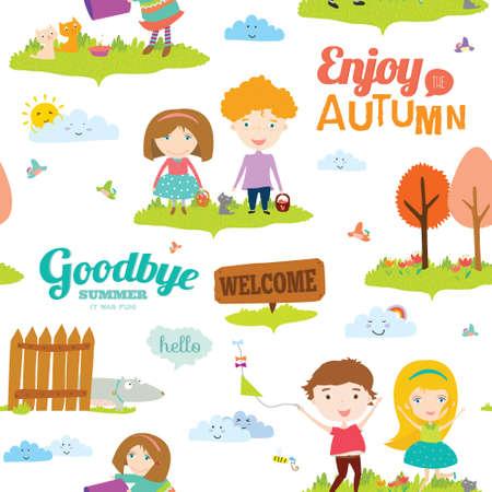 addio: Vector seamless con divertenti bambini sorridenti felici. Brillante illustrazione sfondo in stile carino e cartone animato. Addio estate. Ciao autunno. Outdoor, viaggiare, parco giochi, giardino, cielo, erba