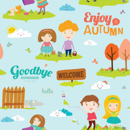 hi back: Vector seamless pattern with funny happy smiling kids. Bright illustration background in a cute and cartoon style. Goodbye summer. Hello autumn. Outdoor, travel, playground, garden, sky, grass Illustration