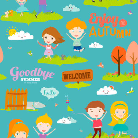 Vector seamless pattern with funny happy smiling kids. Bright illustration background in a cute and cartoon style. Goodbye summer. Hello autumn. Outdoor, travel, playground, garden, sky, grass Vector