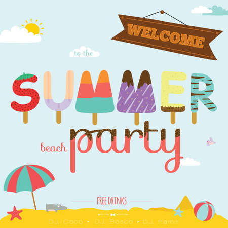 party girl: Vintage unusual invitation card on summer beach party. Cute illustration ornaments with ice cream typography. Summer holidays, tropical paradise, sea, sunshine, weekend tour, beach vacation.