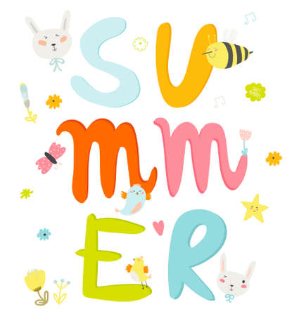 bee party: Greeting card with vector Summer typographic and cute party elements: flowers, bird, sweets, bunny, bee. Inspirational and motivational poster. Template for summer and spring season greetings holidays.