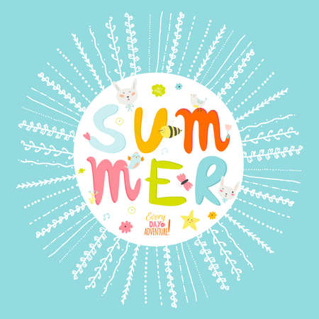 greeting season: Greeting card with vector Summer typographic and cute party elements: flowers, bird, sweets, bunny, bee. Inspirational and motivational poster. Template for summer and spring season greetings holidays.