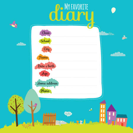 diary: Back to School design. Cute and cartoon illustration smiling happy kids welcome to school. ABC.Vector design elements for notebook, diary, organizer and other school template design. Illustration