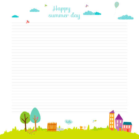 summer school: Back to School design. Cute and cartoon illustration spring, summer and autumn background. Vector design elements for notebook, diary, organizer and other school template design.