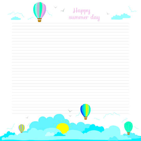 diary background: Back to School design. Cute and cartoon illustration spring, summer and autumn background. Vector design elements for notebook, diary, organizer and other school template design.