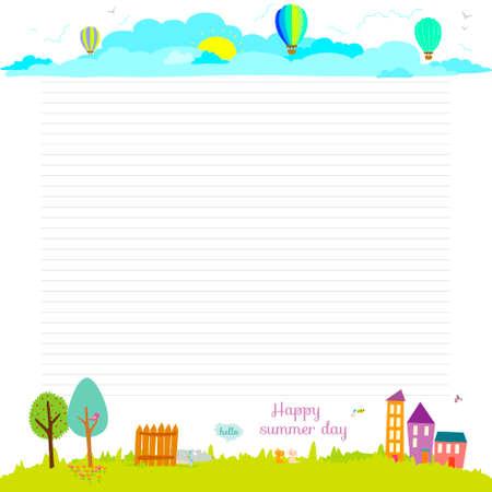 Terug naar school design. Leuke en cartoon illustratie lente, zomer en herfst achtergrond. Vector design elementen voor notebook, agenda, organizer en ander schoolpersoneel template design.
