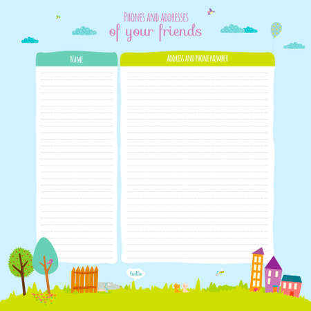 open diary: Back to School design. Cute and cartoon illustration spring, summer and autumn background. Vector design elements for notebook, diary, organizer and other school template design.