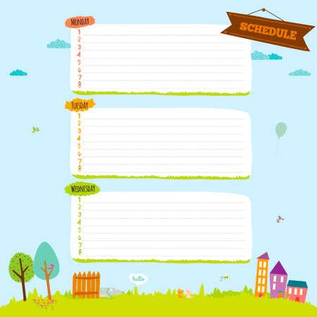 다시 학교 디자인에. 귀여운 만화 그림 봄, 여름, 가을 배경. 노트북, 일기, 주최자 및 기타 학교 템플릿 디자인을위한 벡터 디자인 요소입니다. 일러스트