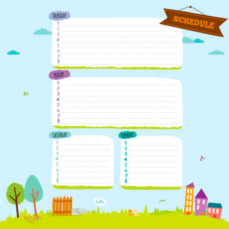 school schedule: Back to School design. Cute and cartoon illustration spring, summer and autumn background. Vector design elements for notebook, diary, organizer and other school template design.