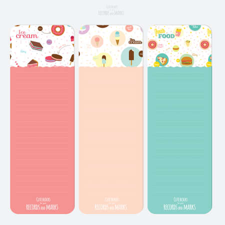 Vector design elements for notebook, diary, stickers and other template design. Cute and cartoon illustration sweets. School accessories template.