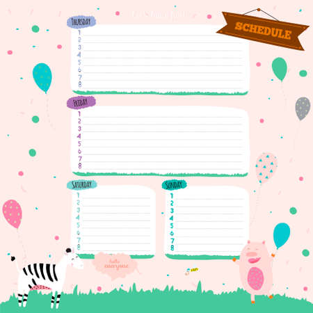 Vector design elements for notebook, diary, stickers and other template design. Cute and cartoon illustration, ready for your message. School accessories.