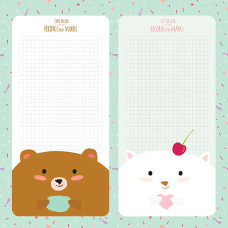 Vector design elements for notebook, diary, stickers and other template design. Cute and cartoon illustration, ready for your message. School accessories. Funny happy animals.  Vintage collection.