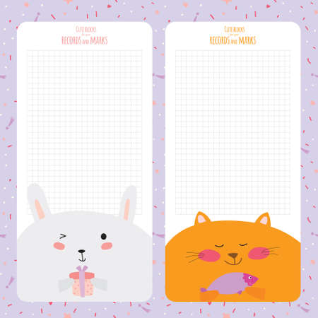 cat open: Vector design elements for notebook, diary, stickers and other template design. Cute and cartoon illustration, ready for your message. School accessories. Funny happy animals.  Vintage collection.