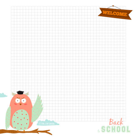 talk bubble: Back to School design. Cute and cartoon illustration owl teacher with talk bubble welcome to school. Vector design elements for notebook, diary, organizer and other school template design. Illustration