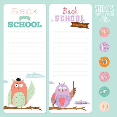 to do list: Back to School design. Cute and cartoon illustration owl teacher with talk bubble welcome to school. Vector design elements for notebook, diary, organizer and other school template design. Illustration