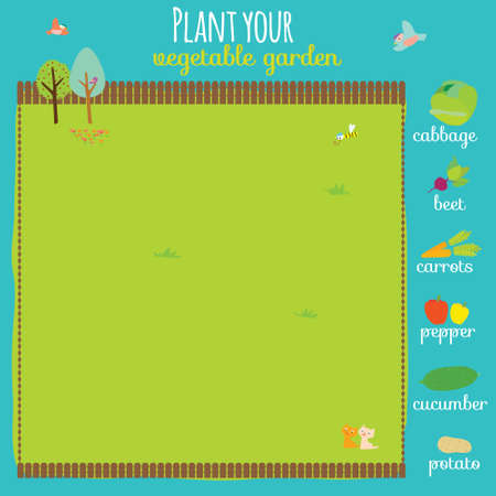 beets: Vector concept game where you have to plant your garden. Carrots, cabbage, peppers, beets, cucumber, potatoes. Cute illustration can be used like game in school for kids. Illustration