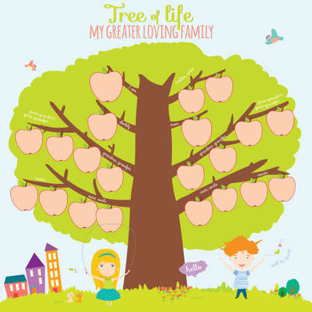 summer school: Vector illustration of the genealogical family tree in a cute and cartoon style design. Interesting game for the kids in school. Bright card with summer background. House, fence, apple, boy, girl.
