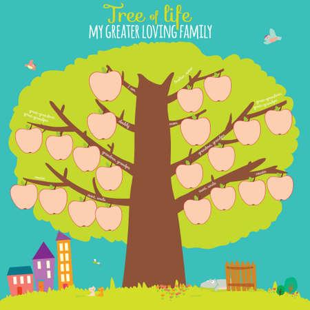 genealogical: Ilustraci�n del vector del �rbol de la familia geneal�gica en un dise�o lindo y de estilo de dibujos animados. Interesante juego para los ni�os en la escuela. Tarjeta brillante con fondo de verano. Casa, cerca, manzana, muchacho, chica. Vectores