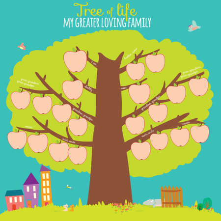 Vector illustration of the genealogical family tree in a cute and cartoon style design. Interesting game for the kids in school. Bright card with summer background. House, fence, apple, boy, girl.