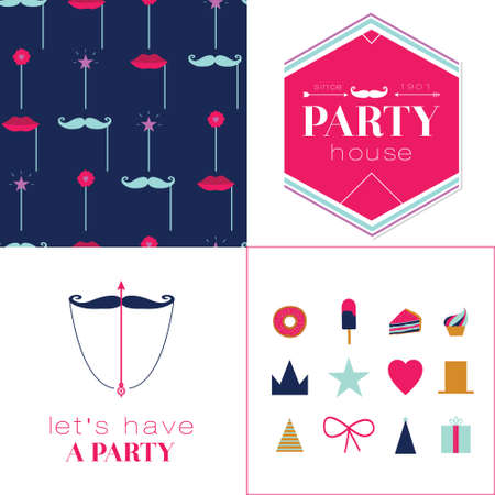 hubcap: Seamless vector pattern with retro party elements. Cute and cartoon illustration. Template for Happy birthday card. Vintage hipster collection in flat design style. Illustration