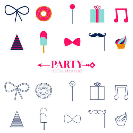 Set of vector design of retro party elements. Cute and cartoon illustration. Template for Happy birthday card. Vintage hipster collection in flat design style. Vector