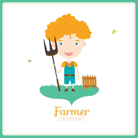 profession: Cute vector alphabet Profession. Illustration smiling boys and girls in a funny and cartoon style design isolated on white background. Farmer Illustration