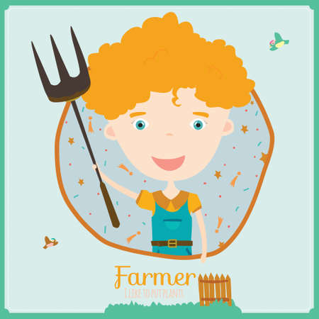 youngsters: Cute vector alphabet Profession. Illustration smiling boys and girls in a funny and cartoon style design isolated on white background. Farmer Illustration
