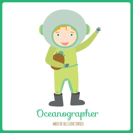 youngsters: Cute vector alphabet Profession. Illustration smiling boys and girls in a funny and cartoon style design isolated on white background. Oceanographer Illustration