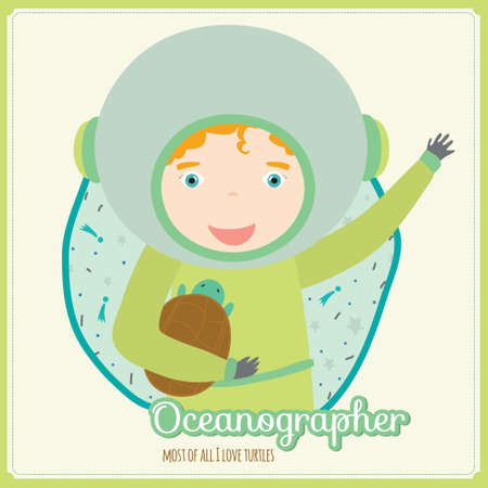 profession: Cute vector alphabet Profession. Illustration smiling boys and girls in a funny and cartoon style design isolated on white background. Oceanographer Illustration