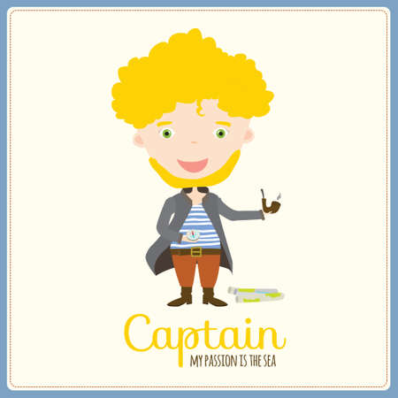 youngsters: Cute vector alphabet Profession. Illustration smiling boys and girls in a funny and cartoon style design isolated on white background. Captain