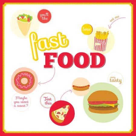 Vector ensemble d'éléments de design mignon avec des icônes de restauration rapide dans les cercles. Icônes de pizza, hamburger, cheeseburger, hot dog, beignets, sandwich pour les restaurants, cafés, boutique en ligne, les événements. Vecteurs