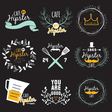 caf�: Grande logo serie di progettazione ristorante e bar menu. Logo del modello in formato vettoriale. Cooking icone, etichette, ghirlande ed elementi grafici in stile hippy. Vintage illustrazione del fast food.