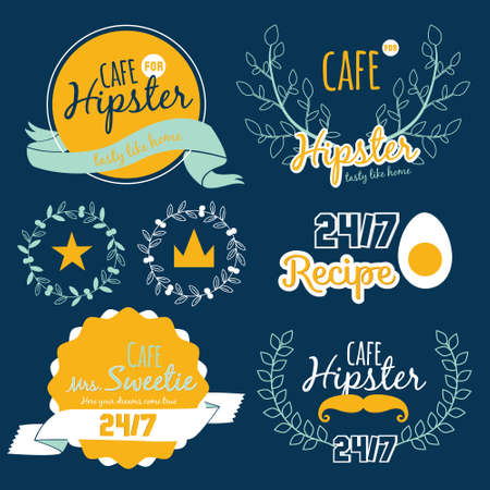 Big logo set of restaurant and cafe menu design. Template logotype in vector. Cooking icons, labels, wreathes and graphic elements in hipster style. Vintage illustration of fast food. Illustration