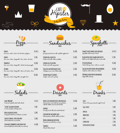 Big logo set of restaurant and cafe menu design. Template logotype in vector. Cooking icons, labels, wreathes and graphic elements in hipster style. Vintage illustration of fast food. Vettoriali