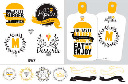 bistro cafe: Big logo set of restaurant and cafe menu design. Template logotype in vector. Cooking icons, labels, wreathes and graphic elements in hipster style. Vintage illustration of fast food. Illustration