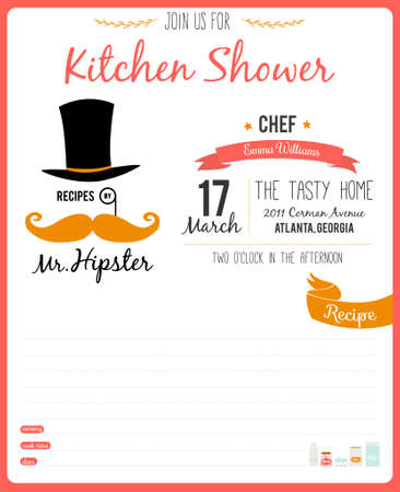 kitchen shower: Recipe card in hipster style for restaurant and cafe. Invitation template on a Kitchen Shower in vector Vintage illustration.