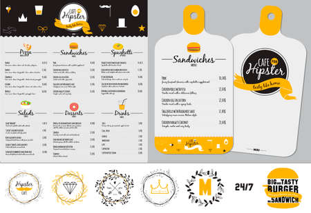 Big logo set of restaurant and cafe menu design. Template logotype in vector. Cooking icons, labels, wreathes and graphic elements in hipster style. Vintage illustration of fast food. Ilustração
