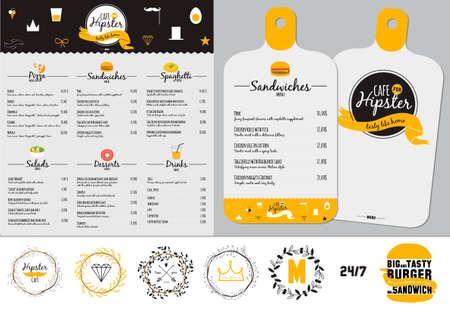 Gran Conjunto de la insignia del diseño del restaurante y la cafetería menú. Logotipo de plantilla en el vector. Cocinar iconos, etiquetas, guirnaldas y elementos gráficos de estilo inconformista. Ejemplo del vintage de la comida rápida. Logos