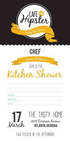 Recipe card in hipster style for restaurant and cafe. Invitation template on a Kitchen Shower in vector Vintage illustration.