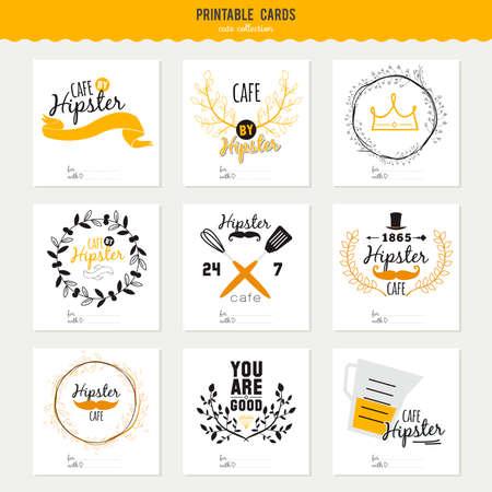 레스토랑과 카페 메뉴 디자인의 큰 로고를 설정합니다. 벡터 템플릿 로고. 아이콘, 레이블, 화환과 힙 스터 스타일의 그래픽 요소를 요리. 패스트 푸드 일러스트
