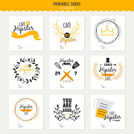 Big logo set of restaurant and cafe menu design. Template logotype in vector. Cooking icons, labels, wreathes and graphic elements in hipster style. Vintage illustration of fast food. Stock Illustratie