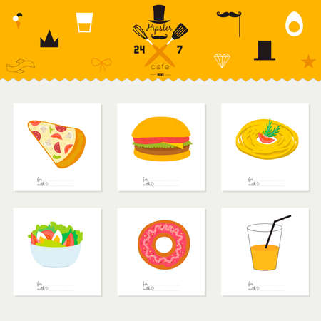 food restaurant: Big logo set of restaurant and cafe menu design. Template logotype in vector. Cooking icons, labels, wreathes and graphic elements in hipster style. Vintage illustration of fast food. Illustration