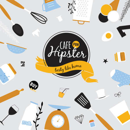 food and beverage: Big logo set of restaurant and cafe menu design. Template logotype in vector. Cooking icons, labels, wreathes and graphic elements in hipster style. Vintage illustration of fast food. Illustration