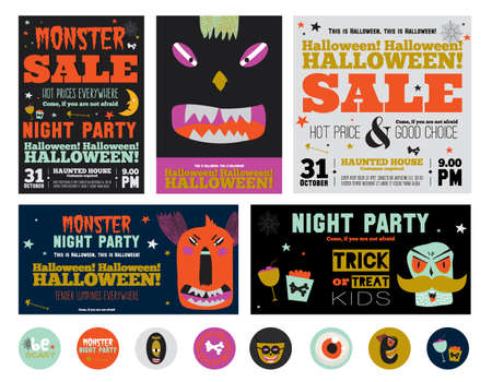 fearsome: Set Trick or Treat Poster Cards in vector. Stylish Halloween Illustration with Cute, Funny, Evil, Fearsome Monsters in Cartoon Style. October Templates for Placards, Posters, Flyers and Banners