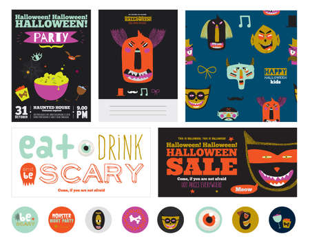 treat: Set Trick or Treat Poster Cards in vector. Stylish Halloween Illustration with Cute, Funny, Evil, Fearsome Monsters in Cartoon Style. October Templates for Placards, Posters, Flyers and Banners