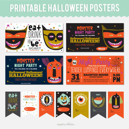 cartoon devil: Set Trick or Treat Poster Cards in vector. Stylish Halloween Illustration with Cute, Funny, Evil, Fearsome Monsters in Cartoon Style. October Templates for Placards, Posters, Flyers and Banners