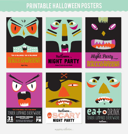creepy monster: Set Trick or Treat Poster Cards in vector. Stylish Halloween Illustration with Cute, Funny, Evil, Fearsome Monsters in Cartoon Style. October Templates for Placards, Posters, Flyers and Banners