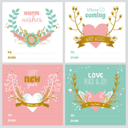 Set of square greeting cards with Christmas and New Year greeting romantic flower labels, ribbons, hearts, wreaths, laurel